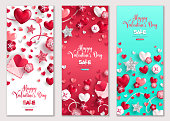 Happy Valentine's Day horizontal banners set. Vector illustration. Holiday brochure design for corporate greeting cards, love creative concept, gift voucher, invitation. Place for your text message. V