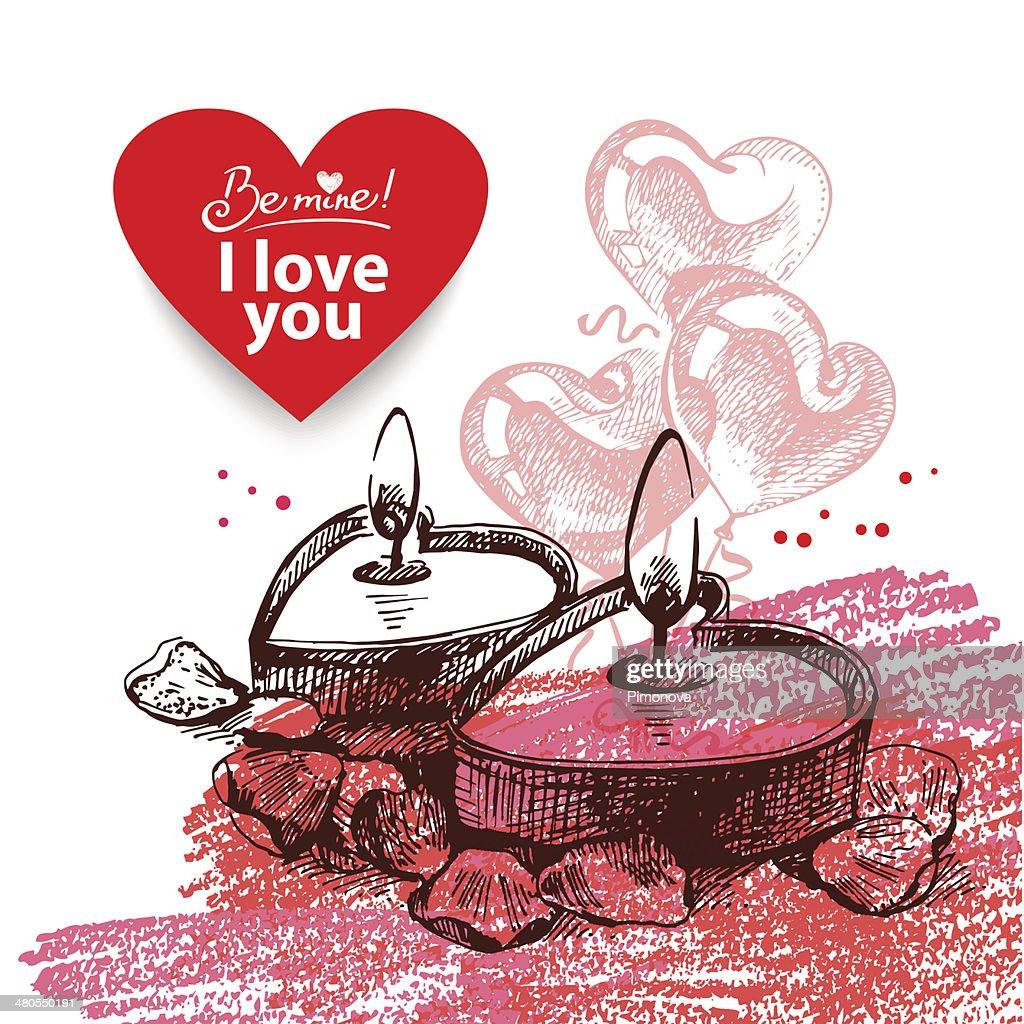 Valentine's Day vintage background : Vector Art
