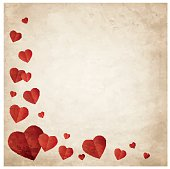 Valentine's day wish card vector illustration in red color with grunge texure
