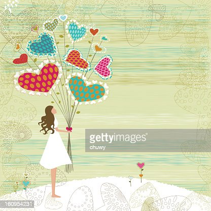 Valentine's girl with bunch of flowers : Vectorkunst