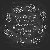 Lettering I Love You written in white chalk on a black chalkboard, holiday greetings with hearts and decorative elements, illustration.