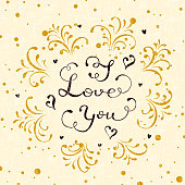 Lettering I Love You on a beige background, holiday greetings with hearts and decorative elements, illustration.