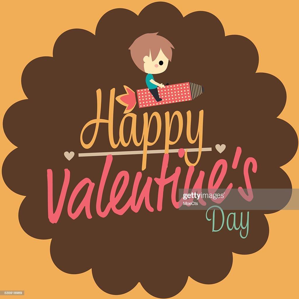 valentines love card boy ride rocket : Vector Art