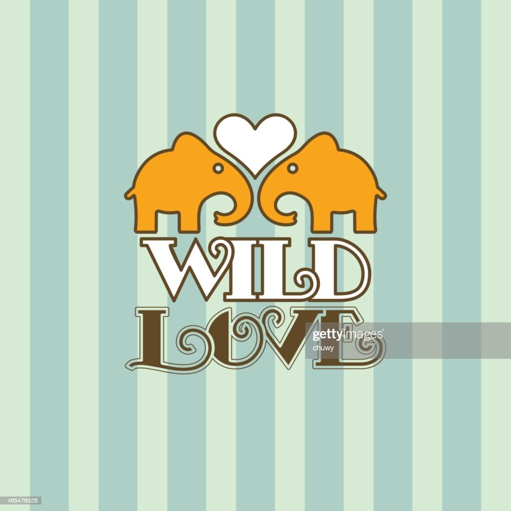 Valentines Retro Card Elephant Love Text Vector Art – Elephant Valentines Card