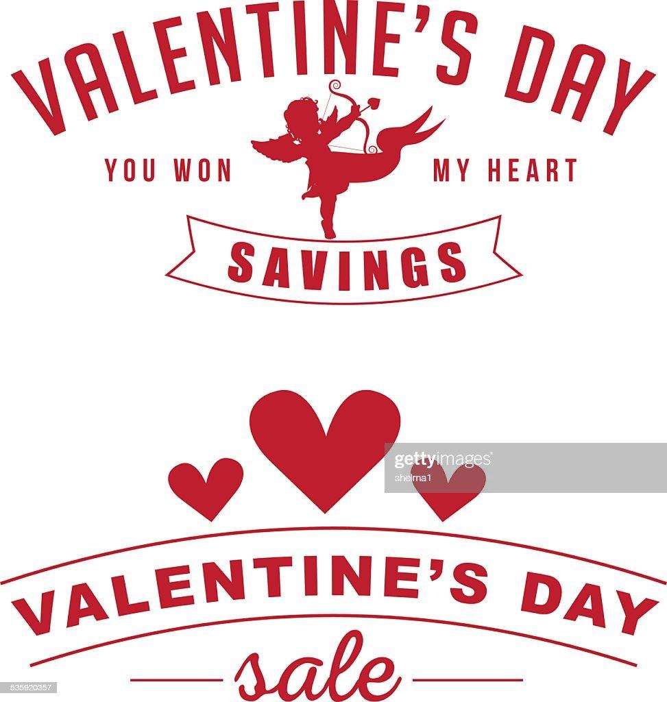 Valentine's sale retro insignia set : Vector Art