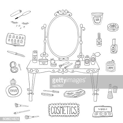 Vanity table with mirror and makeup : Vector Art