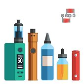 Vape devices icon set. Vaping juice for e cigarette. Vector sign colorful illustration modern flat style design isolated on white background for web banner or print