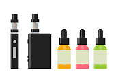 Vaping device and accessory. Electronic cigarette and bottles with vape liquid. e- liquid, e-juice. Mockup of Vape bottle with liquid. Isolated vector illustration on white background.