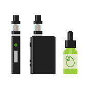 Vaping device and accessory. Electronic cigarette and bottles with vape liquid. e- liquid, e-juice. Isolated vector illustration on white background.