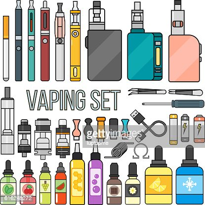 Vaping set vector. : Vector Art