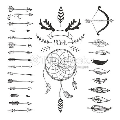 Variety Of Arrows And Symbols In Tribal Design Vector Art Thinkstock