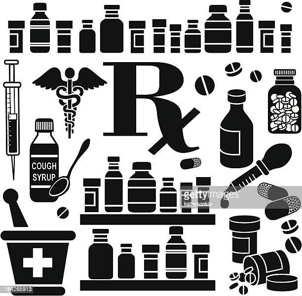 Various black pharmacy-related icons