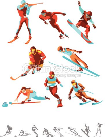 Various color and monotone winter sport icons