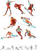 Illustrated winter sport activities