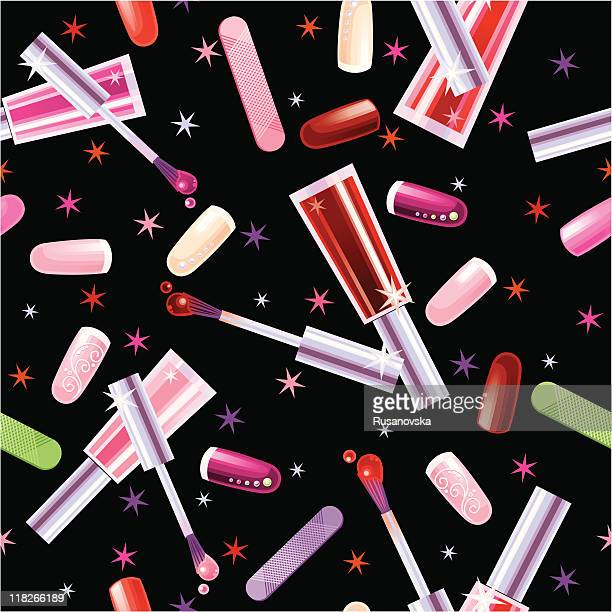 Various Cosmetic. Pattern. Black background.