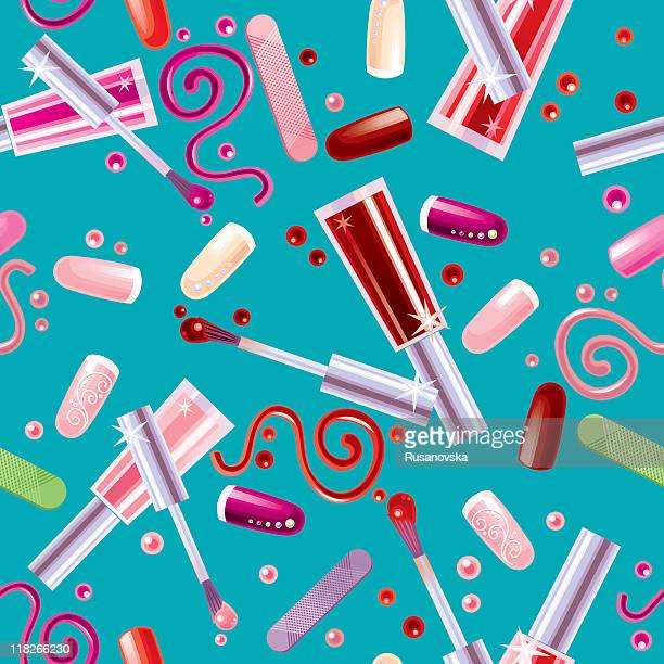 Various Cosmetics. Pattern. Blue background.
