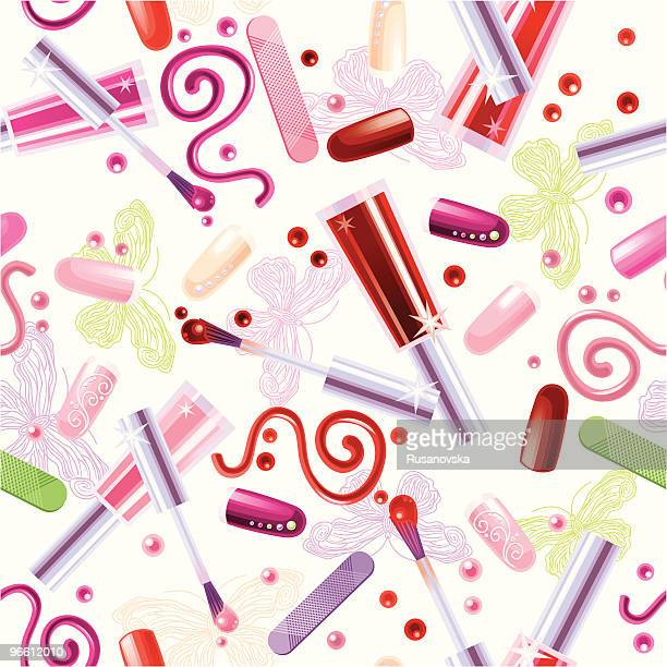 Various Cosmetics. Pattern. White background.