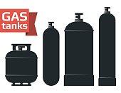 Various gas tanks sihlouette icons set. Oxygene, propane, butane, methane. Monochrome vector illustration