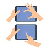 Various gestures of female hand with tablet screen. Vector flat illustration of woman's hands, portable PC, pad with interactive multitouch display. Vector design element for infographic, presentation