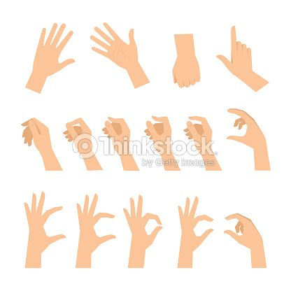 Various gestures of human hands isolated on a white background. : stock vector