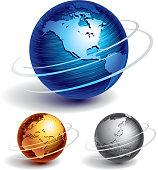 Three brushed metal globes.