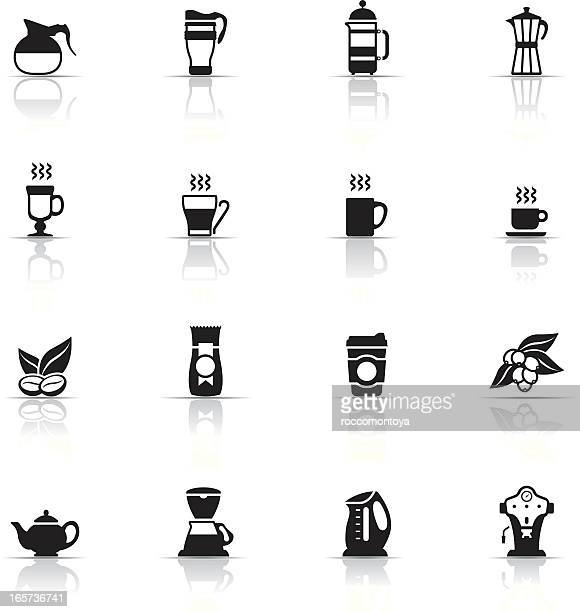 Various icons about coffee with reflections