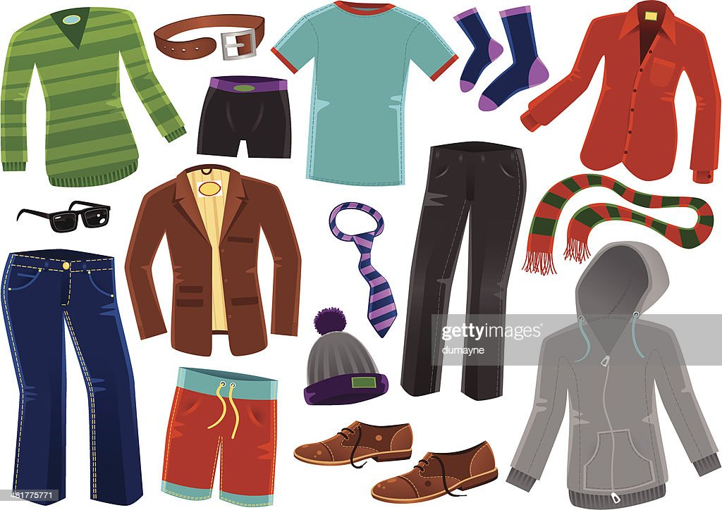 Various male clothing items vector art getty images
