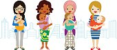Various Mom and Baby -Multi-Ethnic Group.