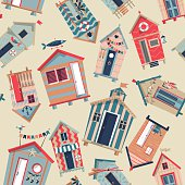 Various multi-colored Beach Huts. Seamless background pattern. Vector illustration