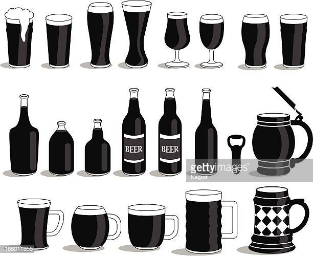 Various of alcoholics beer mug's and bottles.