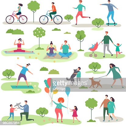 Various outdoor activities in the urban park. Group of walking peoples : Vector Art