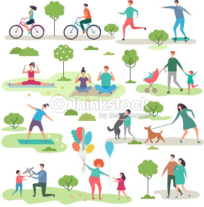 Various outdoor activities in the urban park. Group of walking peoples : stock vector