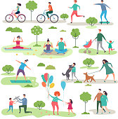 Various outdoor activities in the urban park. Group of walking peoples. Illustration of recreation jogging with dog, exercise fitness outdoor