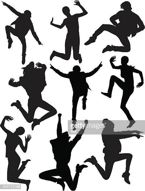 Various people jumping