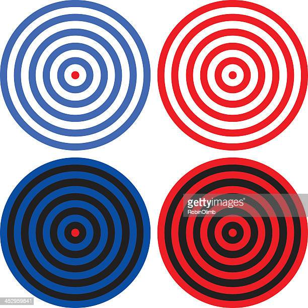 Various red and blue target icons isolated on white