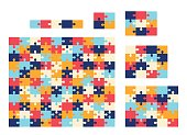 Various sizes jigsaw puzzle set. Vector colorful collection.