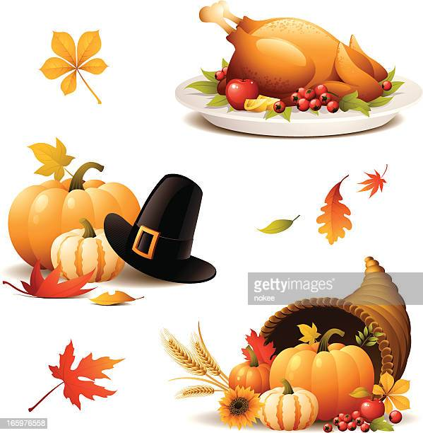 Various Thanksgiving iconographic's on white backdrop