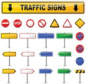 Illustration of various traffic signs on white background