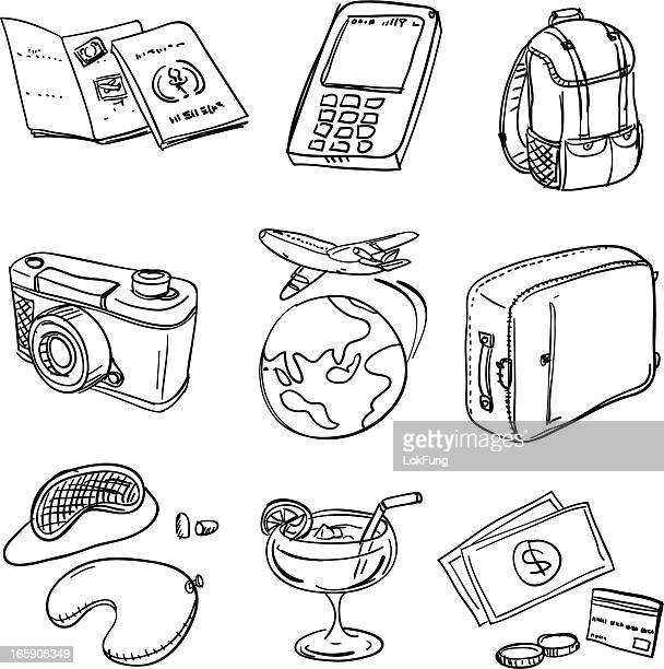 Various travel icons in black and white
