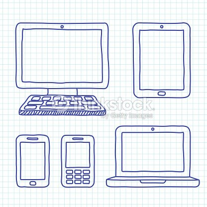 Various Types Of Digital Devices Drawn Vector Art   Thinkstock