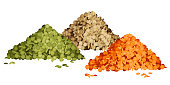 Various types of lentils piles set vector illustration side view. Green, brown and red lentils