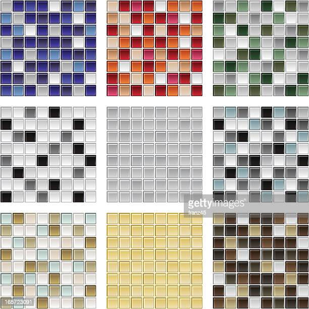 Various types of seamless glass tile background