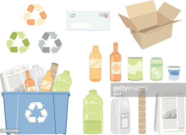 Various vector illustrations of recycling