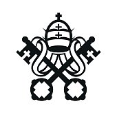 Coat of arms of Vatican City State and the Holy See symbol emblem flag, crossed keys and tiara simple monochromatic vector icon