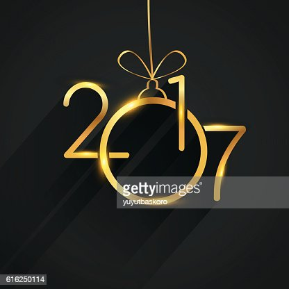 Vector 2017 Happy New Year background, text design golden colored : Arte vetorial