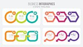 Vector 3 steps timeline infographic template with arrows. Four illustrations set