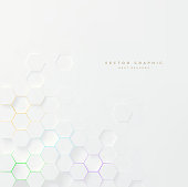 White abstract texture. Vector 3d geometric background. Hexagonal backdrop.
