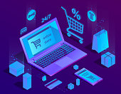 Vector 3d isometric concept of e-commerce, online store. Shopping service, payment by smartphone or laptop and delivery. Illustration in purple, ultraviolet colors.