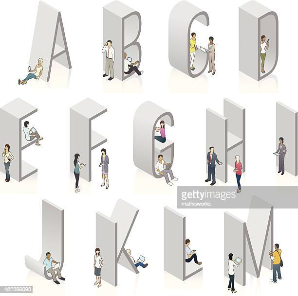 Vector 3-D letters people using mobile devices
