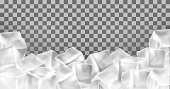Vector 3d realistic ice cubes frame, border. Square transparent frozen objects. Frost blocks isolated on translucent background.